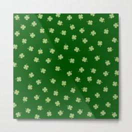 Green Shamrocks Green Background Metal Print