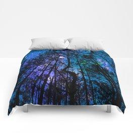 Black Trees Teal Purple Space Comforters