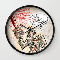evil dead Wall Clocks featuring Ash from The Evil Dead by Joe Badon