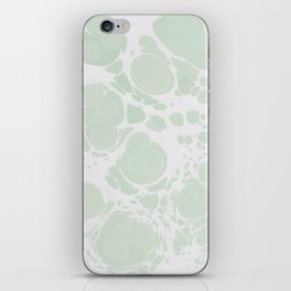 Ebru Paper Marbling Pastel Green Paint Spill Bubbles iPhone Skin