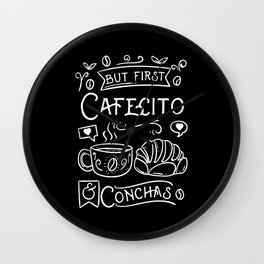 But First Cafecito & Conchas Wall Clock
