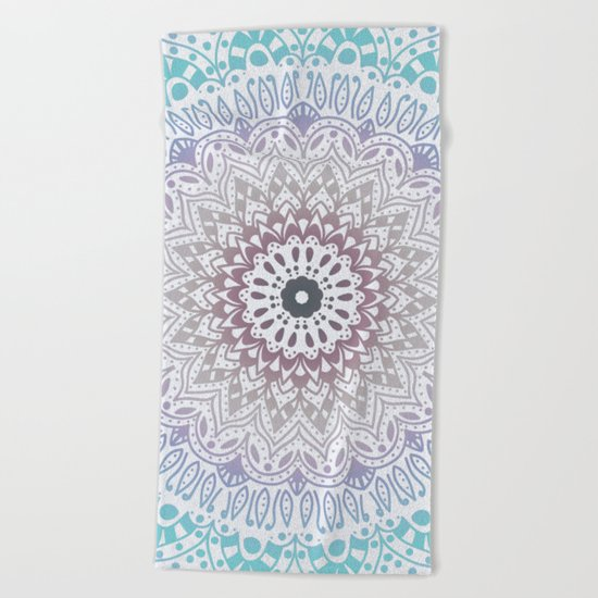 BLUE SUMMER MANDALA Beach Towel