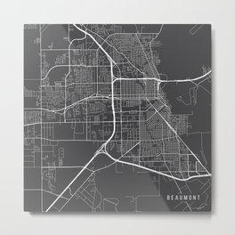 Beaumont Map, USA - Gray Metal Print