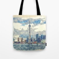 canada Tote Bags featuring Ontario Canada by Moonlake Designs