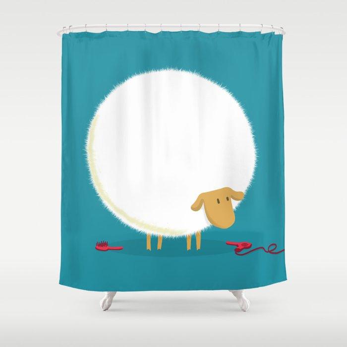 Fluffy Sheep Shower Curtain By Budikwan