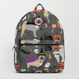 Pug halloween costumes mummy witch vampire pug dog breed pattern by pet friendly Backpack