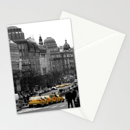 Taxis in Wenceslas Square  Stationery Cards