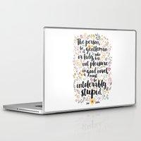 jane austen Laptop & iPad Skins featuring Jane Austen - Intolerably Stupid  by Evie Seo