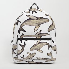 Whale watercolor pencils seamless pattern. Hand drawn painting, isolated, white background Backpack