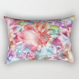 Spring Flowers on Painted Background Rectangular Pillow