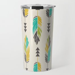 Painted Feathers in a Row-Cream Travel Mug