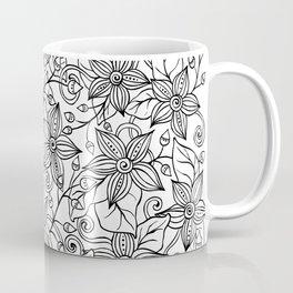 Modern black white hand drawn floral Coffee Mug