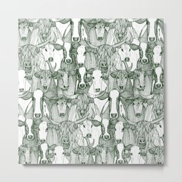 just cattle dark green white Metal Print