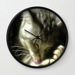 Soft And Gentle Fur And Purr Of A Grey Cat Wall Clock
