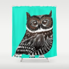 Big Eyed Owl With Aqua Background Shower Curtain