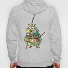 Samurai Cat with a Spear and 2 Swords Hoody