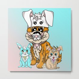 Two rabbits and a puppy in a bunny hat Metal Print