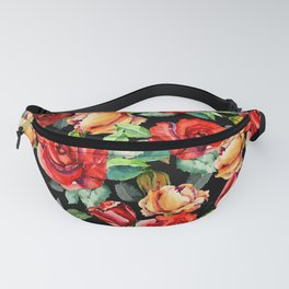 Hand painted black red watercolor roses floral Fanny Pack