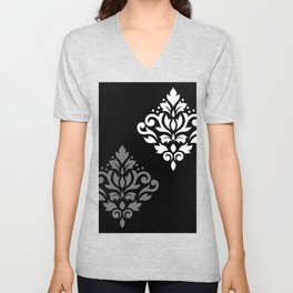 Scroll Damask Art I Black Grey White Unisex V-Neck