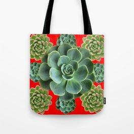 GREY-GREEN  SUCCULENTS GARDEN  IN RED ART Tote Bag