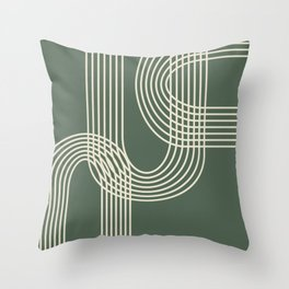 Minimalist Lines in Forest Green Throw Pillow
