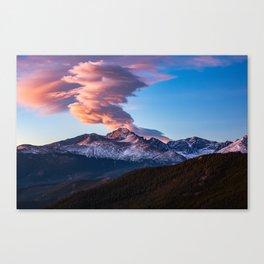 Fire on the Mountain - Sunrise Illuminates Cloud Over Longs Peak in Colorado Canvas Print