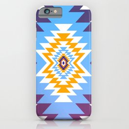 Bright blue native pattern iPhone Case