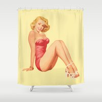 pinup Shower Curtains featuring pinup by Iskanderox