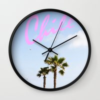 chill Wall Clocks featuring Chill by thecrazythewzrd