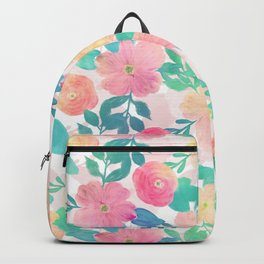 Pink Blue Hand Paint Floral Girly Design Backpack