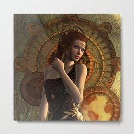 Steampunk, wonderful steampunk women Metal Print