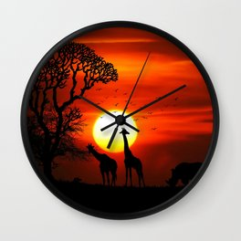 Africa Savannah Sunrise Wall Clock