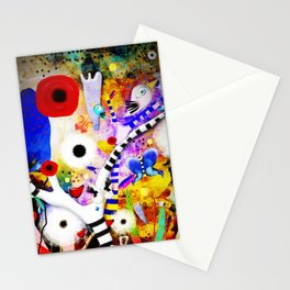 Since you are here - Striped Tree Black and white - Rainbow Abstract Art Stationery Cards