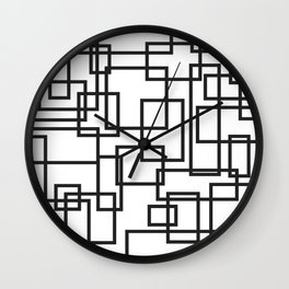 Black and White Cubical Line Art Wall Clock