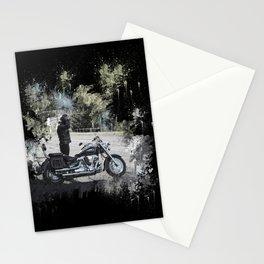 Biker near motorcycle on black Stationery Cards
