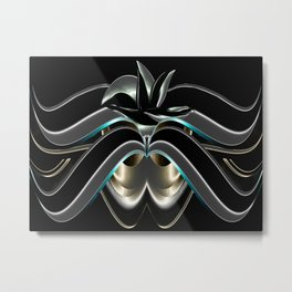 Abstrakt - Lilie schwarz grau Metal Print