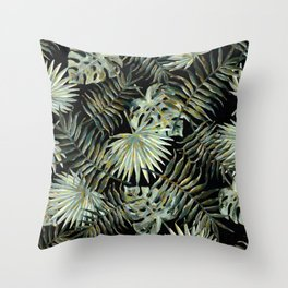 Jungle Dark Tropical Leaves #decor #society6 #pattern #style Throw Pillow