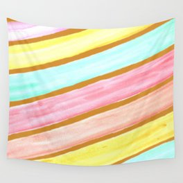 Retro Watercolor Stripes  Wall Tapestry