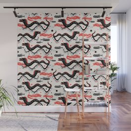 Vector pattern graphic illustration of the sea snake, Moray Wall Mural