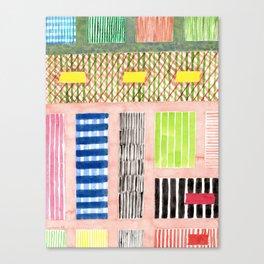 Friendly Pattern Mix On Pink Canvas Print