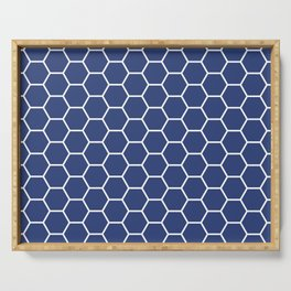 Blue honeycomb geometric pattern Serving Tray