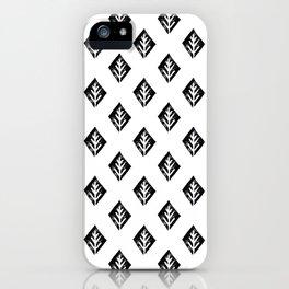 Linocut scandinavian minimal black and white trees camping pattern minimalist art iPhone Case