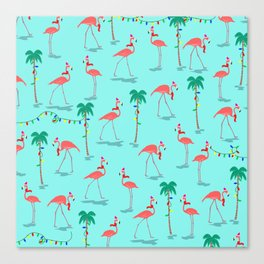 Christmas Flamingo Pattern Canvas Print