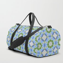 Tiled pattern design with fantasy flowers Duffle Bag