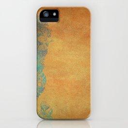 Grunge Garden Canvas Texture:  Golden Orange and Teal Floral iPhone Case