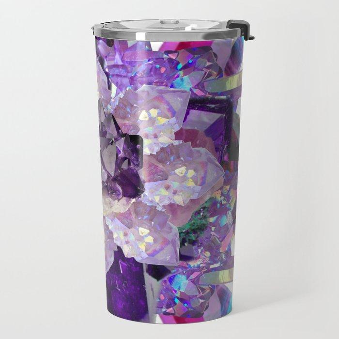 Violet Crystal Explosion Mandala Travel Mug
