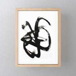 Brushstroke 4 - a simple black and white ink design Framed Mini Art Print
