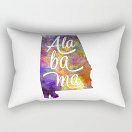 Alabama US State in watercolor text cut out Rectangular Pillow
