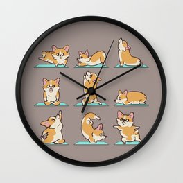 Corgi Yoga Wall Clock