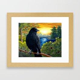 Bird 63 Bird Crow Raven Sunset Framed Art Print
